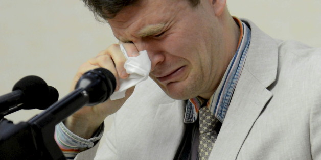 "U.S. student Otto Warmbier reacts at a news conference in this undated photo released by North Korea's Korean Central News Agency (KCNA) in Pyongyang February 29, 2016. The U.S. student held in North Korea since early January was detained for trying to steal an item bearing a propaganda slogan from his Pyongyang hotel and has confessed to ""severe crimes"" against the state, the North's official media said on Monday.     REUTERS/KCNA ATTENTION EDITORS - THIS PICTURE WAS PROVIDED BY A THIRD PARTY."