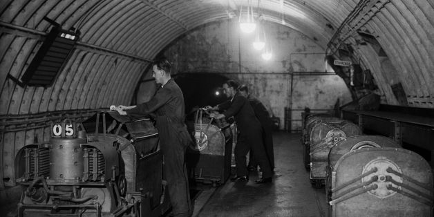 17th October 1932:  The underground railway system at the Post Office building at Mount Pleasant, London.  (Photo by Fox Photos/Getty Images)
