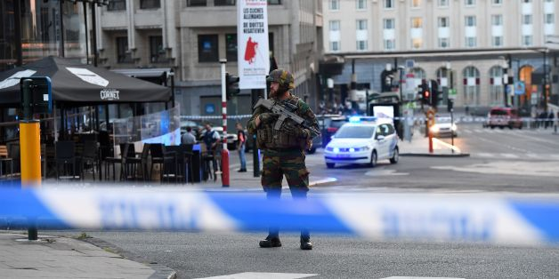 A soldier cordons off an area outside Gare Central in Brussels on June 20, 2017, after an explosion in the Belgian capital.  / AFP PHOTO / Emmanuel DUNAND        (Photo credit should read EMMANUEL DUNAND/AFP/Getty Images)