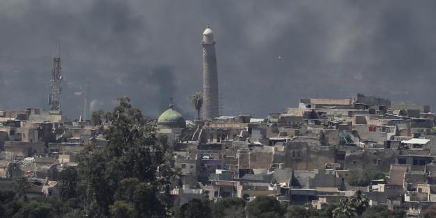 La mosquée Al-Nuri dans la vieille ville de Mossoul, 17 avril Apri 2017.