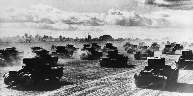 Russian tanks roll towards the battle front on June 22, 1941 to defend Soviet territory from German troops. This was the first day of Hitler's Operation Barbarossa, the drive to defeat the USSR. (Photo by Hulton-Deutsch/Hulton-Deutsch Collection/Corbis via Getty Images)