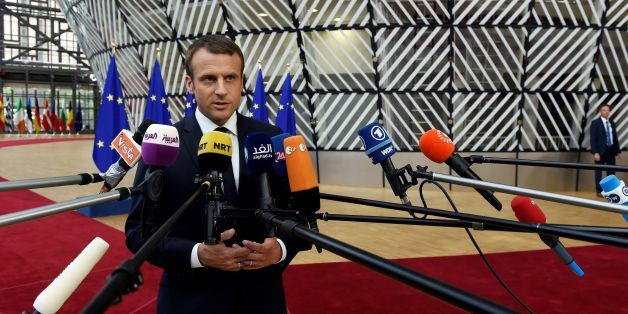 French President Emmanuel Macron speaks to the press as he arrives at the Europa Building, the main headquarters of European Council, in Brussels ahead of the EU leaders summit, in Brussels, on June 22, 2017. / AFP PHOTO / THIERRY CHARLIER        (Photo credit should read THIERRY CHARLIER/AFP/Getty Images)