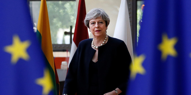 British Prime Minister Theresa May arrives at the EU summit in Brussels, Belgium, June 22, 2017.         REUTERS/Gonzalo Fuentes