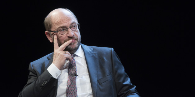 BERLIN, GERMANY - JUNE 18: Martin Schulz, chancellor candidate of the German Social Democrats (SPD) sits on stage during a presentation of his book  'What's Important To Me' on June 18, 2017 in Berlin, Germany. Schulz presented his book three months before upcoming federal elections in September. (Photo by Steffi Loos/Getty Images)