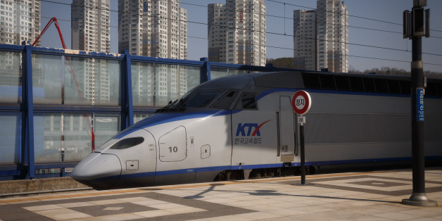 Korean KTX bullet train on the route from Seoul to Busan