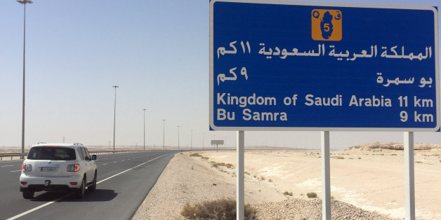 A road sign is seen near Abu Samra border crossing to Saudi Arabia, Qatar June 12, 2017. REUTERS/Tom Finn