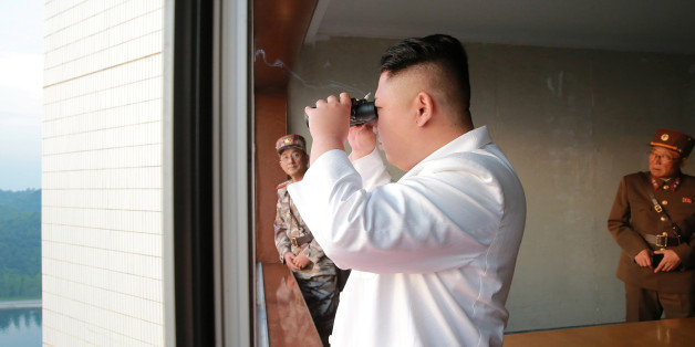 North Korean leader Kim Jong Un looks on during a ballistic rocket test-fire through a precision control guidance system in this undated photo released by North Korea's Korean Central News Agency (KCNA) May 30, 2017. KCNA/via REUTERS ATTENTION EDITORS - THIS IMAGE WAS PROVIDED BY A THIRD PARTY. EDITORIAL USE ONLY. REUTERS IS UNABLE TO INDEPENDENTLY VERIFY THIS IMAGE. NO THIRD PARTY SALES. SOUTH KOREA OUT.