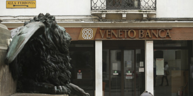 The logo of Veneto Banca bank is seen in Venice, Italy, January 31 2016.    REUTERS/Alessandro Bianchi