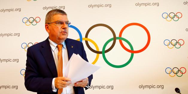 Le président du Comité international olympique (CIO), Thomas Bach, après une conférence de presse à Lausanne, Suisse, le 9 juin 2017.
