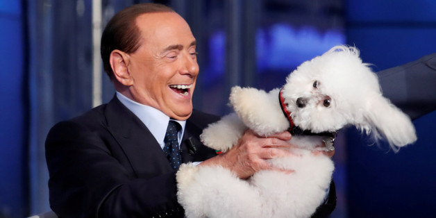 """Italy's former Prime Minister Silvio Berlusconi plays with a dog during the television talk show """"Porta a Porta"""" (Door to Door) in Rome, Italy June 21, 2017. Picture taken June 21, 2017. REUTERS/Remo Casilli     TPX IMAGES OF THE DAY"""
