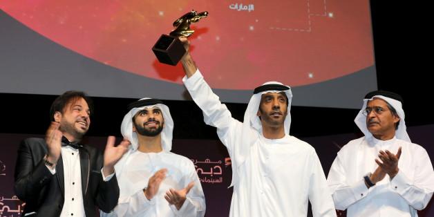 Le réalisateur émirati Saeed Salmeen récompensé lors de la 12 édition du Festival international du film de Dubai, 16 décembre 2015.