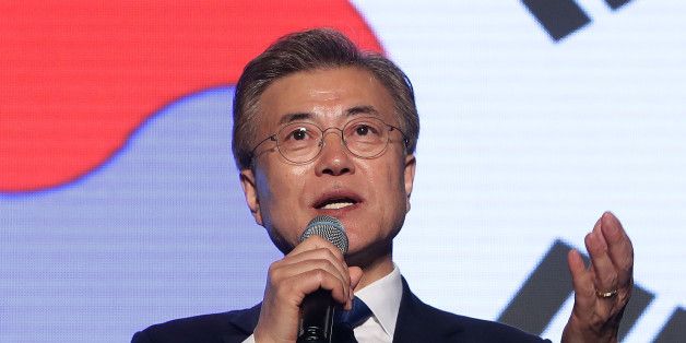 SEOUL, SOUTH KOREA - MAY 09:  South Korean President-elect Moon Jae-in, of the Democratic Party of Korea, speaks to supporters at Gwanghwamun Square on May 9, 2017 in Seoul, South Korea. Moon Jae-in declared victory in South Korea's presidential election, which was called seven months early after former President Park Geun-hye was impeached for her involvement in a corruption scandal.  (Photo by Chung Sung-Jun/Getty Images)