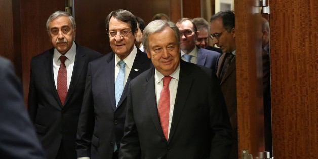 NEW YORK, USA - JUNE 4: UN Secretary-General António Guterres (C) walks along with Greek Cypriot President Nicos Anastasiades (2nd L) and Turkish Cypriot President Mustafa Akinci (L) before a meeting at the United Nations headquarters in Manhattan borough of New York, United States on June 4, 2017. (Photo by Mohammed Elshamy/Anadolu Agency/Getty Images)