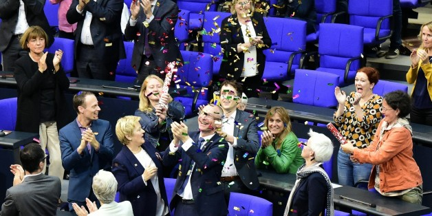 MP´s from the Green party celebrate with confetti following a debate and vote on same-sex marriage in Bundestag, Germany´s lower house of Parliament in Berlin on June 30, 2017.