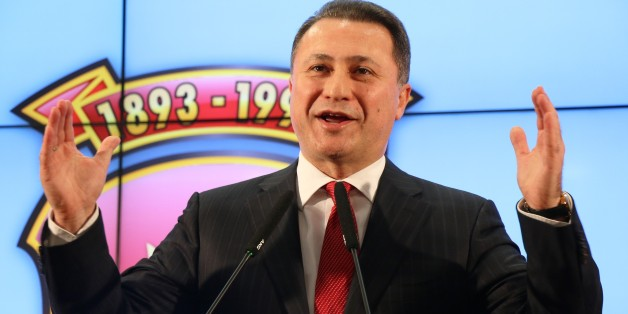SKOPJE, MACEDONIA - DECEMBER 12: Macedonia's former prime minister and leader of the ruling VMRO DPMNE Nikola Gruevski delivers a speech as the counting of the ballots continue in Skopje during early general election on December 12, 2016. Macedonian voters headed to the polls Sunday in early parliamentary elections to determine the new government for the next four years.  (Photo by Besar Ademi/Anadolu Agency/Getty Images)