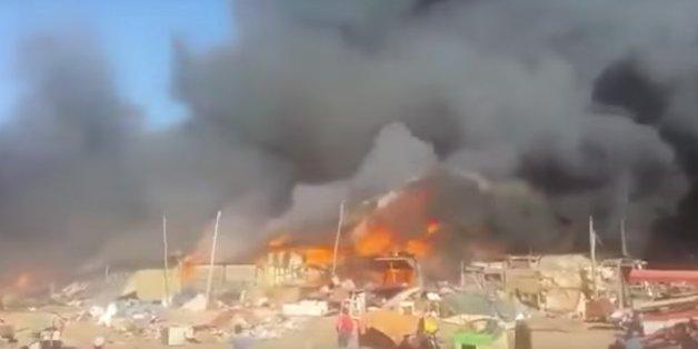 """Un énorme incendie se déclare à """"Souk Assalihine"""" sans faire de victimes"""