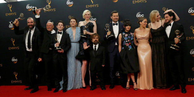 """The cast of HBO's  """"Game of Thrones"""" pose backstage with their award for Oustanding Drama Series at the 68th Primetime Emmy Awards in Los Angeles, California U.S., September 18, 2016.   REUTERS/Mario Anzuoni     TPX IMAGES OF THE DAY"""