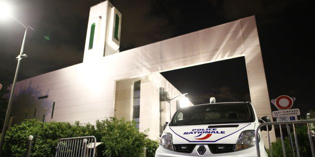 A police vehicle is stationed outside a mosque June 29, 2017 in the Paris suburb of Creteil after a man tried to drive a car into a crowd in front of the Islamic religious facility.  The man has been arrested by police who said that due to protective barriers outside the mosque he had not succeeded in driving into the crowd. / AFP PHOTO / Benjamin CREMEL        (Photo credit should read BENJAMIN CREMEL/AFP/Getty Images)