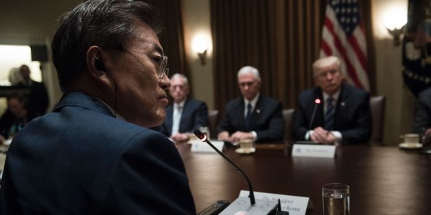 From left South Korea's President Moon Jae-in, US Secretary of Defense James Mattis, US Vice President Mike Pence and US President Donald Trump listen to opening comments before a meeting in the Cabinet Room of the White House June 30, 2017 in Washington, DC. / AFP PHOTO / Brendan Smialowski        (Photo credit should read BRENDAN SMIALOWSKI/AFP/Getty Images)