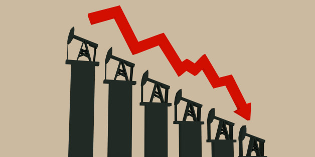 Oil price fall graph illustration. Oil pump and dollar icons on down fall chart. Red arrow