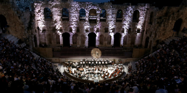 Opening ceremony of the World Congress in Philosophy, wellcome address and music performance, at the Odeum of Herodes Atticus at the foothills of the Athens Acropolis.  In Athens, Greece on July 9, 2016  (Photo by Panayiotis Tzamaros/NurPhoto via Getty Images)