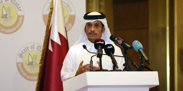 ??????Qatari Foreign Minister Sheikh Mohammed bin Abdulrahman Al-Thani speaks during a joint press conference with his German counterpart in the Qatari capital Doha on July 4, 2017.  / AFP PHOTO / KARIM JAAFAR        (Photo credit should read KARIM JAAFAR/AFP/Getty Images)