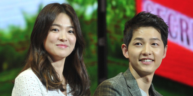 CHENGDU, CHINA - JUNE 17:  (CHINA OUT) South Korea actress Song Hye Kyo and actor Song Joong-ki attend fan meeting on June 17, 2016 in Chengdu, Sichuan Province of China.  (Photo by VCG/VCG via Getty Images)