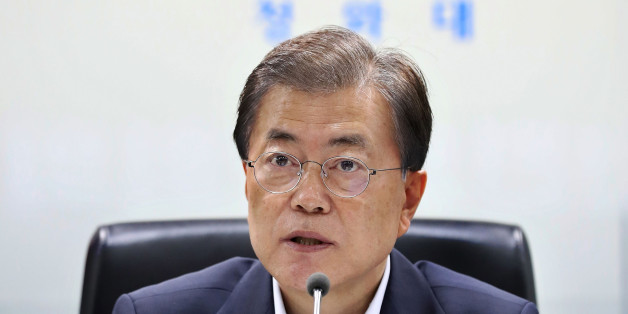 SEOUL, SOUTH KOREA - JULY 04:  In this handout photo released by the South Korean Presidential Blue House, South Korean President Moon Jae-in speaks as he presides over a meeting of the National Security Council at the presidential Blue House on July 4, 2017 in Seoul, South Korea. North Korea fired an unidentified ballistic missile on Tuesday from a location near the North's border with China into waters at Japan's exclusive economic zone, east of the Korean Peninsula, according to reports. The