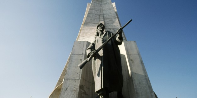 ALGERIA - MARCH 5: Maqam Echahid, the Martyrs' Memorial, 1982, commemorating the Algerian war for independence (1954-1962), detail, Algiers, Algeria. (Photo by DeAgostini/Getty Images)