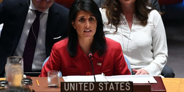 US Ambassador to the United Nations Nikki Haley speaks during a Security Council meeting on North Korea at the UN headquarters in New York on July 5, 2017. The UN Security Council held an emergency meeting after North Korea said it had successfully tested its first intercontinental ballistic missile. / AFP PHOTO / Jewel SAMAD        (Photo credit should read JEWEL SAMAD/AFP/Getty Images)