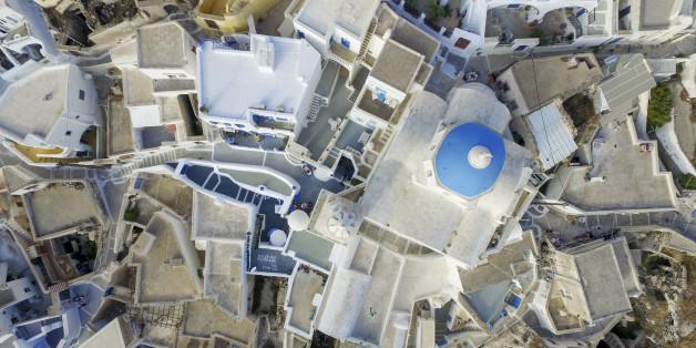 SANTORINI, GREECE - JULY 01: Aerial view of Pyrgos Kallistis or Pyrgos village on July 01, 2015 in Santorini, Greece.  (Photo by Athanasios Gioumpasis/Getty Images)