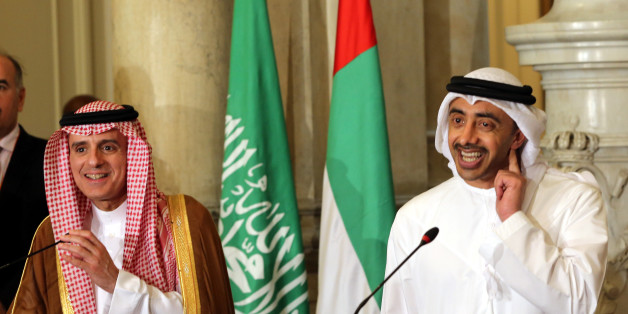 UAE Minister of Foreign Affairs and International Cooperation Abdullah bin Zayed Al-Nahyan (R) talks to reporters as he stands next to Saudi Foreign Minister Adel al-Jubeir, during a joint press conference with their Egyptian and Bahraini counterparts after their meeting in the Egyptian capital Cairo on July 5, 2017, discussing the Gulf diplomatic crisis with Qatar, as Doha called for dialogue to resolve the dispute.The foreign ministers of Egypt, Saudi Arabia, Bahrain and the United Arab Emirat