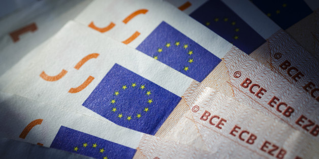 Berlin, Germany - August 03: In this Photo Illustration the flag of the European Union can be seen on euro banknotes on August 03, 2016 in Berlin, Germany. (Photo Illustration by Thomas Trutschel/Photothek via Getty Images)