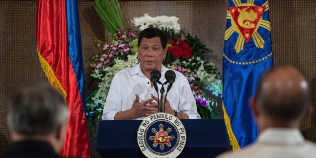 Philippine President Rodrigo Duterte gives a speech during Eid al-Fitr celebrations at the Malacanang Palace in Manila on June 27, 2017. / AFP PHOTO / NOEL CELIS        (Photo credit should read NOEL CELIS/AFP/Getty Images)