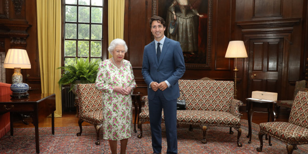 EDINBURGH, UNITED KINGDOM - JULY 5:  Queen Elizabeth II meets with Canadian Prime Minister Justin Trudeau during an audience at the Palace of Holyroodhouse in Edinburgh, Scotland. (Photo by Andrew Milligan/WPA Pool/Getty Images)