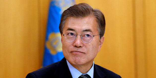 South Korean President Moon Jae-in looks on, during an interview with Reuters, at the Presidential Blue House in Seoul, South Korea June 22, 2017. REUTERS/Kim Hong-Ji