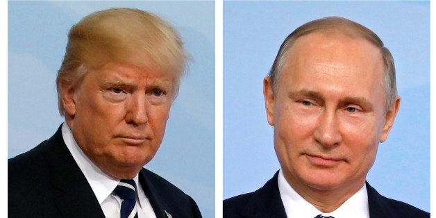 A combination of two photos shows U.S. President Donald Trump and Russian President Vladimir Putin as they arrive for the G20 leaders summit in Hamburg, Germany, July 7, 2017. REUTERS/Carlos Barria