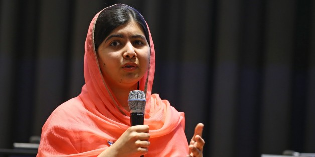 NEW YORK, USA - APRIL 10 : Nobel Laureate Malala Yousafzai makes a speech during a ceremony after she was received UN Peace Envoy in New York, United States on April 10, 2017. (Photo by Volkan Furuncu/Anadolu Agency/Getty Images)