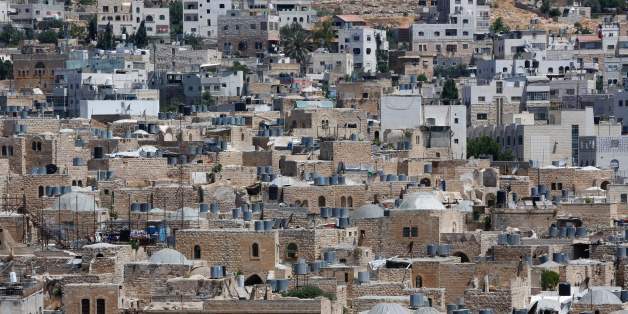 A picture taken on June 29, 2017 shows a view of the houses in the old town of the divided city of Hebron in the southern West Bank.