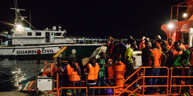 52 migrants among them one woman and two under-aged boys were rescued by the Spanish Maritime. Late at night, on the 21st of June 2017, the Spanish maritime boat arrived at the Malaga harbour, where the migrants welcomed by the Red cross. (Photo by Guillaume Pinon/NurPhoto via Getty Images)
