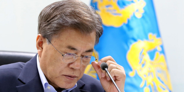 SEOUL, SOUTH KOREA - JULY 04:  In this handout photo released by the South Korean Presidential Blue House, South Korean President Moon Jae-in speaks as he presides over a meeting of the National Security Council at the presidential Blue House on July 4, 2017 in Seoul, South Korea. North Korea fired an unidentified ballistic missile on Tuesday from a location near the North's border with China into waters at Japan's exclusive economic zone, east of the Korean Peninsula, according to reports. The latest launch have drawn strong criticism from the U.S. and came ahead of a summit of leaders from the Group of 20 countries in Germany later this week.  (Photo by South Korean Presidential Blue House via Getty Images)