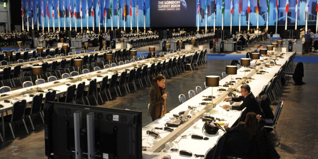 Journalists at work in the Excel conference centre in east London where world leaders are gathered for the G20 Summit.