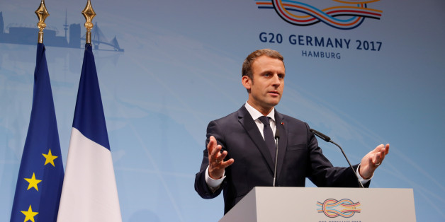 French President Emmanuel Macron gestures during the press conference at the G20 leaders summit in Hamburg, Germany July 8, 2017. REUTERS/Philippe Wojazer