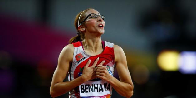 Athletics - IAAF World ParaAthletics Championships - London, Britain - July 14, 2017   Morocco's Sanaa Benhama celebrates winning the Women's 1500m T13 Final   Action Images via Reuters/Peter Cziborra