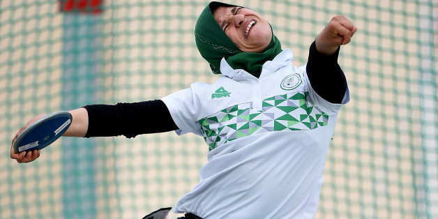 DUBAI, UNITED ARAB EMIRATES - MARCH 23: Mounia Gasmi of Algeria competes in Discus Wheelchair Women's final during the 9th Fazza International IPC Athletics Grand Prix Competition - World Para Athletics Grand Prix on March 23, 2017 in Dubai, United Arab Emirates.  (Photo by Tom Dulat/Getty Images)