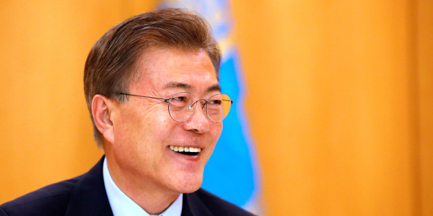 South Korean President Moon Jae-in speaks during an interview with Reuters at the Presidential Blue House in Seoul, South Korea June 22, 2017. REUTERS/Kim Hong-Ji