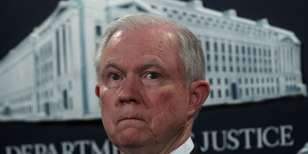 WASHINGTON, DC - JULY 13:  U.S. Attorney General Jeff Sessions listens during a news conference to announce significant law enforcement actions July 13, 2017 at the Justice Department in Washington, DC. Attorney General Jeff Sessions held the news conference to announce the 2017 health care fraud takedown.  (Photo by Alex Wong/Getty Images)