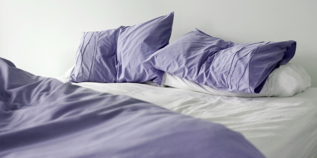 Un made bed in the morning