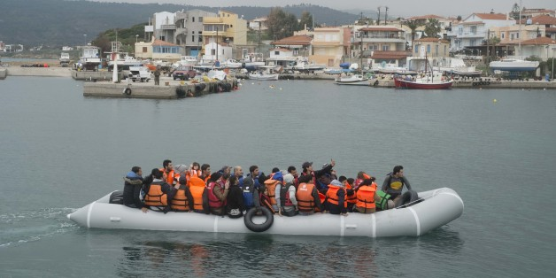 Migrants arrive in Mytilene, on the Greek island of Lesbos, on March 21, 2016. Like Lesbos, Chios is an other Greek island, where every day the migrants boats reach the shores. (Photo by Guillaume Pinon/NurPhoto/NurPhoto via Getty Images)