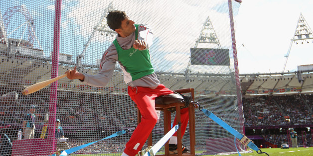 LONDON, ENGLAND - AUGUST 31:  Lahouari Bahlaz of Algeria competes in the Men's Club Throw - F31/32/51 Final on day 2 of the London 2012 Paralympic Games at Olympic Stadium on August 31, 2012 in London, England.  (Photo by Michael Steele/Getty Images)